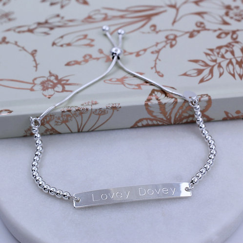 Sterling silver Personalised ID Ball Slider Bracelet