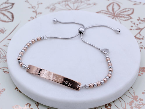 Sterling silver and 18ct Rose Gold Vermeil Personalised ID Ball Bracelet