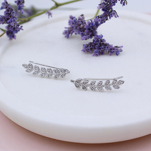 Silver Cubic Zirconia Leaf up-the-ear Climber Earrings