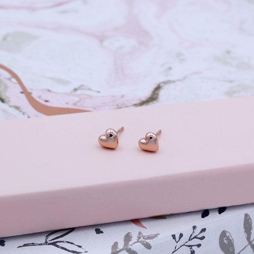 18ct Rose Gold Vermeil Heart Stud Earrings