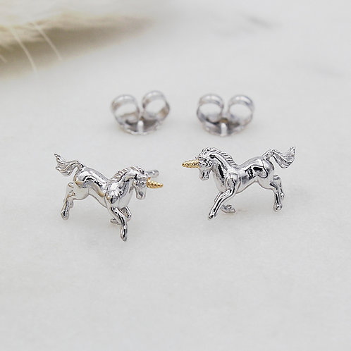 Sterling Silver & Yellow Gold vermeil Magical Unicorn Stud Earrings