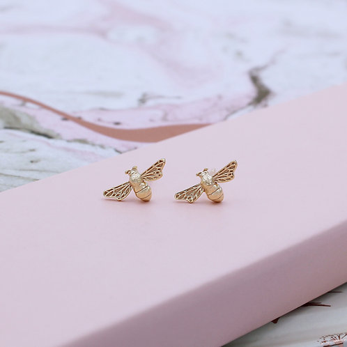 18ct Yellow Gold Vermeil Bumble Bee Stud Earrings