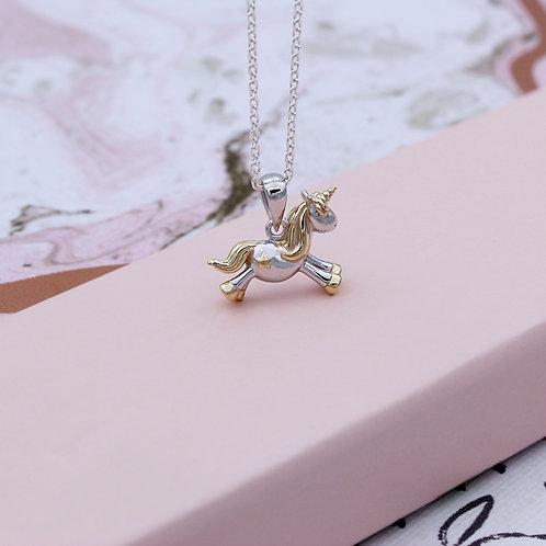 Silver & 18ct Yellow Gold vermeil Starshine Unicorn Necklace