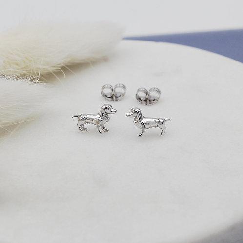 Sterling Silver Mini Dachshund Stud Earrings