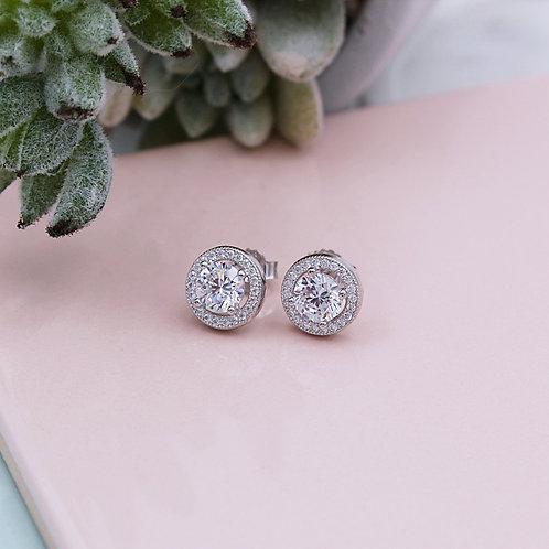 Silver Sparkling Stone Set Halo Stud Earrings