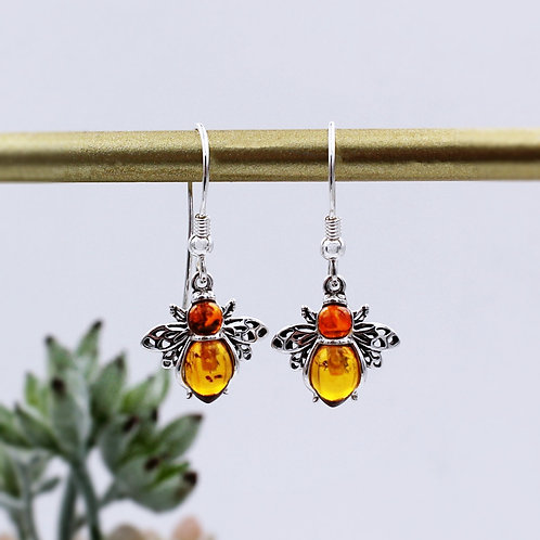 Bee Earrings in Solid Sterling Silver set with Amber