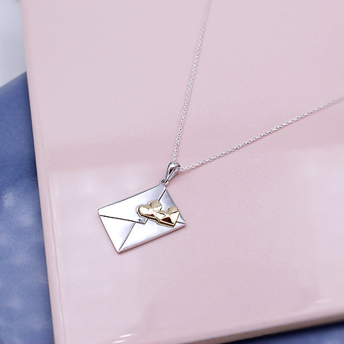 Sterling Silver Love Letter with 18ct Yellow Gold Hearts Necklace