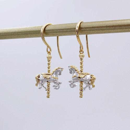 Sterling Silver & Gold Carousel Horse Drop Earrings