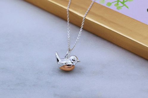 Sterling Silver with 18ct Rose Gold vermeil Robin Redbreast Necklace