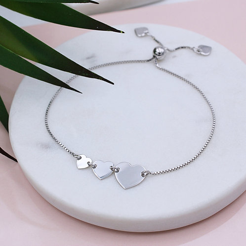 Sterling Silver Triple Trailing Personalised Heart Slider Bracelet