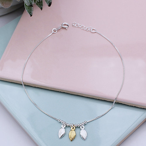 Sterling Silver and 18ct Yellow Gold vermeil Leaf Anklet