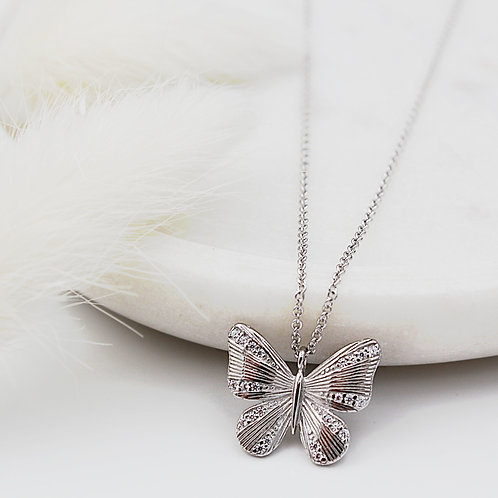 Silver Butterfly Necklace set with cubic zirconias