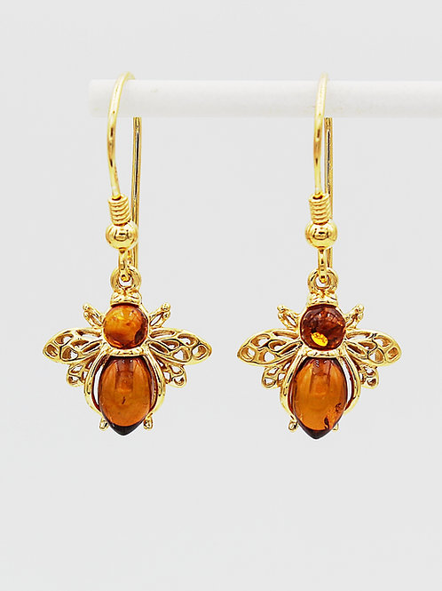 Bee Earrings in Gold Plated Silver set with Amber