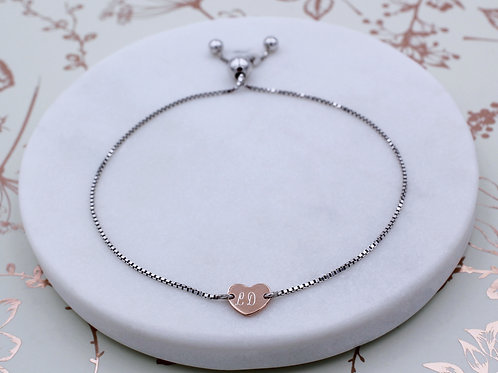 Sterling Silver and 18ct Rose Gold Vermeil Personalised Heart Slider Bracelet