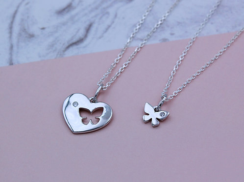 Sterling Silver Stone Sharing Butterfly Heart Necklace