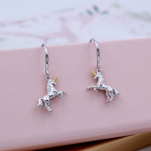 Sterling Silver & 18ct Yellow Gold vermeil Magical Unicorn drop Earrings
