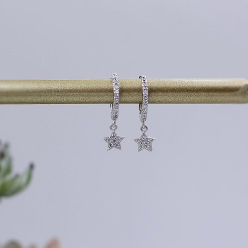 Sterling Silver Star Diamonte Huggie Hoop Earrings