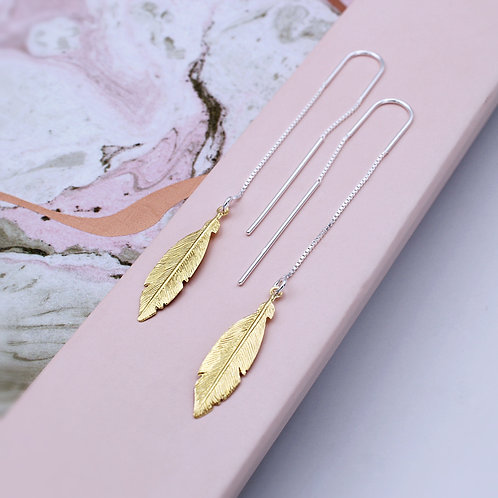 Silver & Gold Feather pull-through Drop Earrings