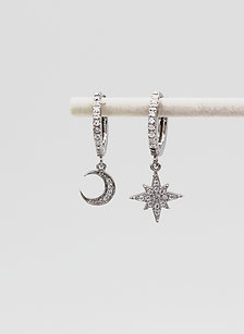 Sterling Silver Moon & Star Stone Set Huggie Hoop Earrings