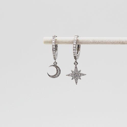 Sterling Silver Moon & Star Stone Set Huggie Hoop Earrings