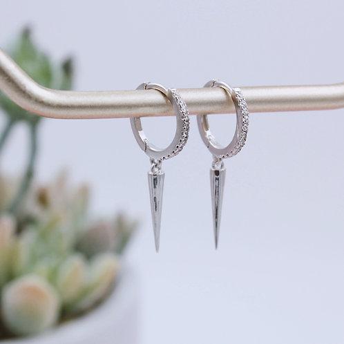 Sterling Silver Spike charm Stone Set Huggie Hoop Earring