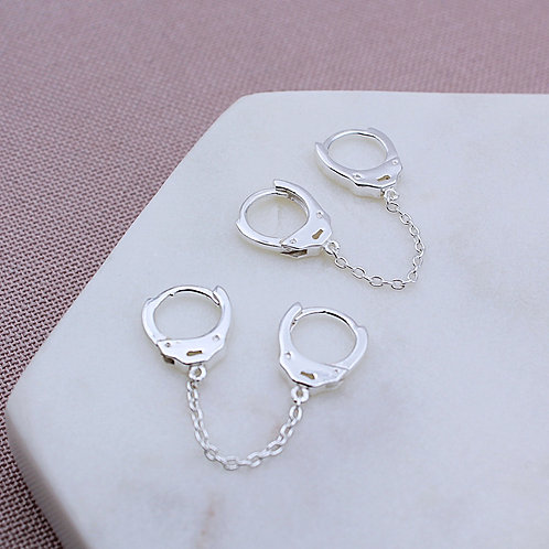 Sterling Silver Handcuff Drop Earrings