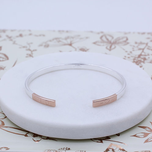 Sterling Silver & 18ct Rose Gold Personalised Cuff  Bangle