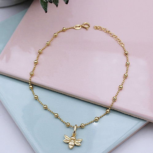 Yellow Gold vermeil Bee Anklet