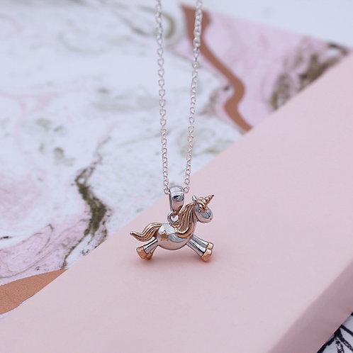Silver & 18ct Yellow Rose vermeil Starshine Unicorn Necklace