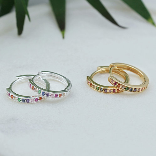 Sterling Silver and Yellow Goldplated Rainbow CZ Huggie Hoops