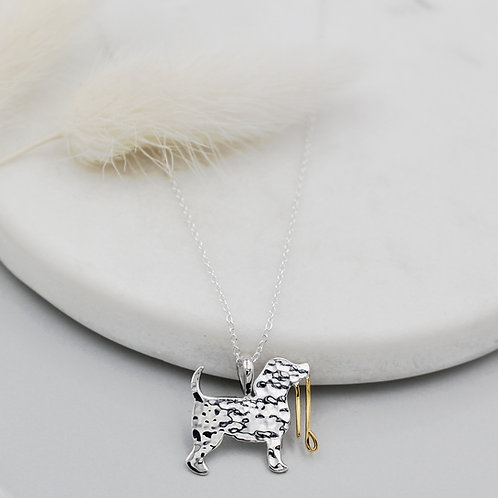 Sterling Silver & Gold plated Dog with lead Necklace