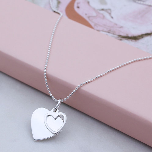 Personalised Sterling Silver Double Heart Necklace