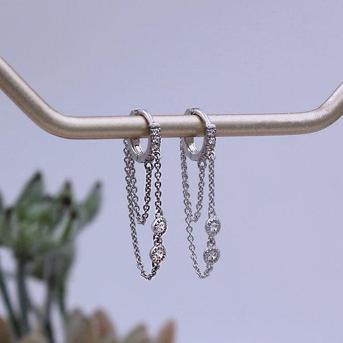 Sterling Silver Double Chain CZ Huggie Hoop Earrings