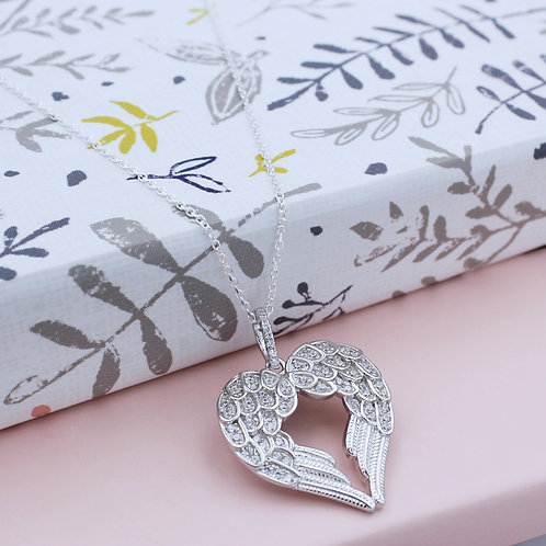 Silver Cubic zirconia Heart-shaped Double Angel Wing Necklace