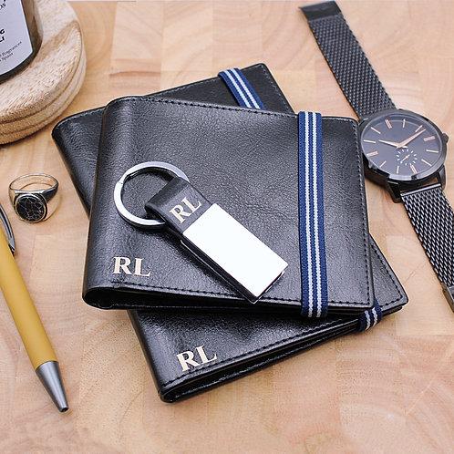 Personalised Black Leather Wallet, passport holder and keyring gift set