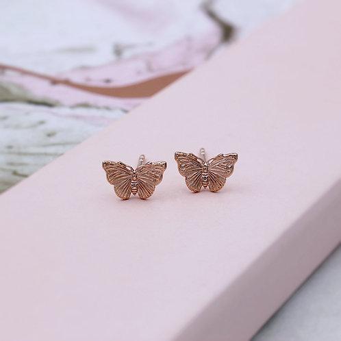 18ct Rose Gold Vermeil Butterfly Stud Earrings