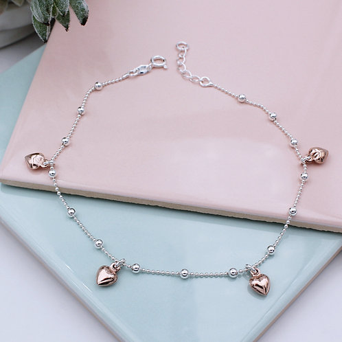 Sterling Silver and 18ct Rose Gold vermeil Heart Anklet
