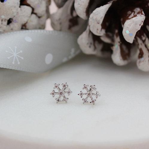 Sterling Silver Stone Set Snowflake Stud Earrings