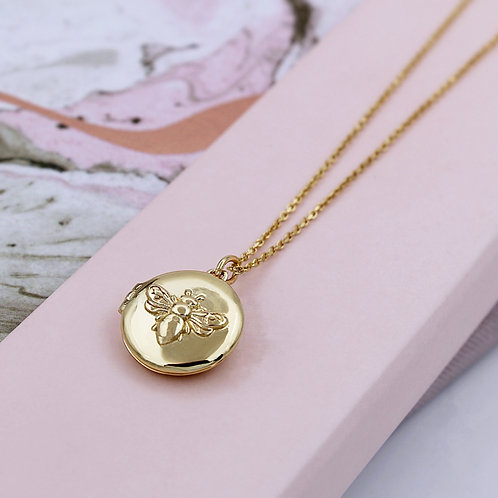 Personalised Yellow Gold vermeil Bee Locket Necklace