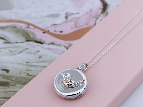 Personalised Sterling Silver with 18ct Rose Gold Robin Redbreast Locket Necklace