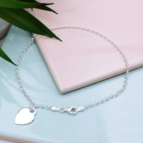 Sterling Silver Personalised Heart Anklet