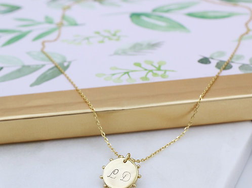 18ct Yellow Gold vermeil personalised beaded edge round pendant necklace