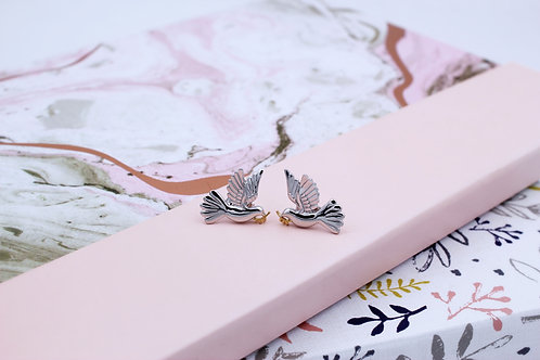 Sterling Silver and Yellow Gold Vermeil Dove Stud Earrings