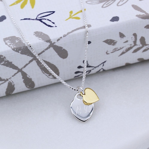 Sterling Silver & Yellow Gold vermeil Personalised Heart Necklace