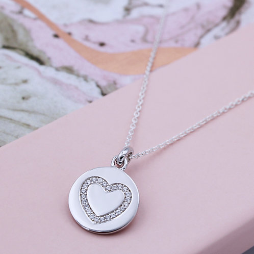 Sterling Silver Personalised Cubic Zirconia Heart Pendant Necklace