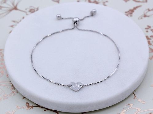 Sterling Silver Personalised Heart Slider Bracelet