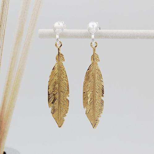Silver & Gold Feather Stud Drop Earrings