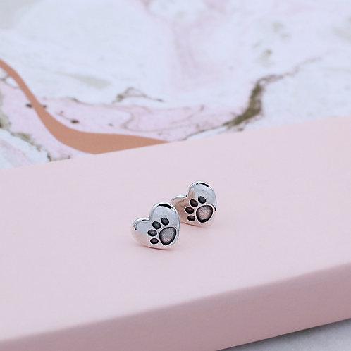 Sterling Silver Heart Paw Stud Earrings