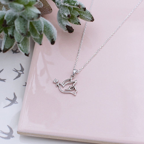 Sterling Silver Stone Set 'Lovey Dovey' Dove Necklace