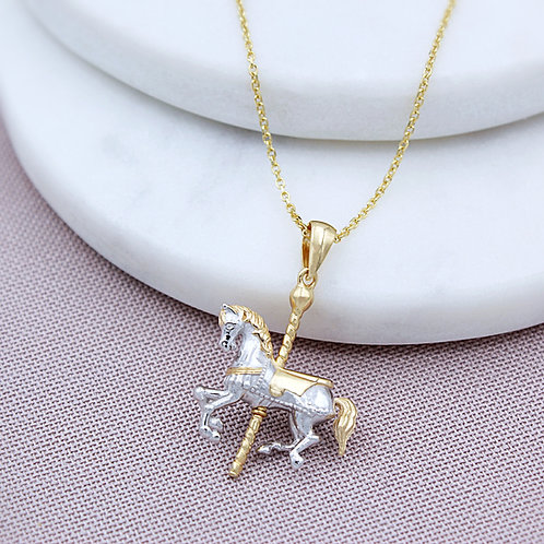Sterling Silver & Gold Carousel Horse Necklace
